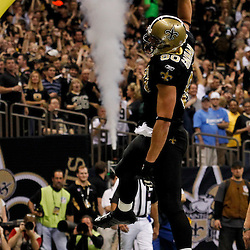 January 7, 2012; New Orleans, LA, USA; New Orleans Saints tight end Jimmy Graham (80) celebrates a touchdown against the Detroit Lions during the 2011 NFC wild card playoff game at the Mercedes-Benz Superdome. Mandatory Credit: Derick E. Hingle-US PRESSWIRE