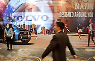 CHINA / Shanghai  / Hotel Marriot  / 09/03/2012..Volvo Cars China Supllier Convention / Volvo Ceo Stefan Jacoby visit / .During the convention, billboard depict the Volvo Car slogan and chinese Supplier passing by..© Daniele Mattioli for Volvo Cars...