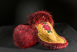 Adaka Cultural Festival 2016, Whitehorse, Yukon, Canada, Yukon First Nation Culture and Tourism Association, Kwanlin Dun Cultural Centre, Sarah McHugh, red beaver fur mitts, beadwork