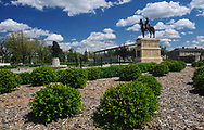 The Old Trooper statue at Cavalry Parade File at Fort Riley, Kansas.