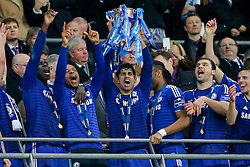 Diego Costa of Chelsea lifts the League Cup trophy after winning the Capital One Cup Final - Photo mandatory by-line: Rogan Thomson/JMP - 07966 386802 - 01/03/2015 - SPORT - FOOTBALL - London, England - Wembley Stadium - Chelsea v Tottenham Hotspur - Capital One Cup Final.