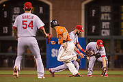 San Francisco Giants left fielder Angel Pagan (16) runs past the St. Louis Cardinals as they fumble a ground ball at AT&T Park in San Francisco, Calif., on September 16, 2016. (Stan Olszewski/Special to S.F. Examiner)