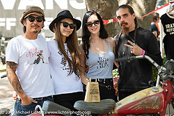 Masumi and Go Takamine with Imogen Lehtonen and Lucifer at the Born Free chopper show. Silverado, CA. USA. Sunday June 24, 2018. Photography ©2018 Michael Lichter.