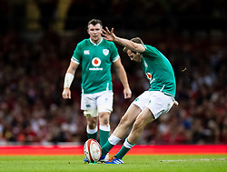 Jack Carty of Ireland kicks a penalty<br /> <br /> Photographer Simon King/Replay Images<br /> <br /> Friendly - Wales v Ireland - Saturday 31st August 2019 - Principality Stadium - Cardiff<br /> <br /> World Copyright © Replay Images . All rights reserved. info@replayimages.co.uk - http://replayimages.co.uk