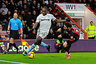 Michail Antonio (30) of West Ham United takes on Adam Smith (15) of AFC Bournemouth during the Premier League match between Bournemouth and West Ham United at the Vitality Stadium, Bournemouth, England on 19 January 2019.