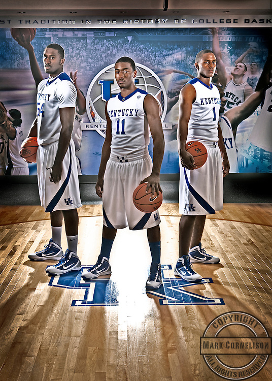 University of Kentucky basketball players Patrick Patterson, left, John Wall, center, and Darius MIller, right, are leading Kentucky back to prominence. Photo by Mark Cornelison   Staff