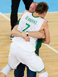 Edgaras Ulanovas of Lithuania and Kazys Maksvytis, head coach of Lithuania celebrate after the basketball match between National teams of Lithuania and France in final match of U20 Men European Championship Slovenia 2012, on July 22, 2012 in SRC Stozice, Ljubljana, Slovenia. Lithuania defeated France 50-49 and became European Champion 2012. (Photo by Vid Ponikvar / Sportida.com)