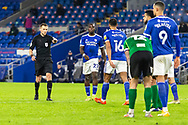 PENALTY Referee Michael Salisbury awards Cardiff City a penalty during the EFL Sky Bet Championship match between Cardiff City and Birmingham City at the Cardiff City Stadium, Cardiff, Wales on 16 December 2020.