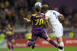 Ales Mertelj vs Veli Lampi at Third Round of Champions League qualifications football match between NK Maribor and FC Zurich,  on August 05, 2009, in Ljudski vrt , Maribor, Slovenia. Zurich won 3:0 and qualified to next Round. (Photo by Vid Ponikvar / Sportida)