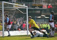 Photo: Scott Heavey<br />Watford V Burnley. 09/03/03.<br />Tommy Smith turns away leaving Burnley keeper Marlon Bereford helpless during this FA Cup quarter final between these two first division teams.