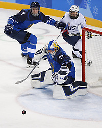 February 11, 2018 - Pyeongchang, KOREA - Finland goaltender Noora Raty (41) blocks a shot during the women's hockey group A play during the Pyeongchang 2018 Olympic Winter Games at Kwandong Hockey Centre. The USA beat Finland 3-1. (Credit Image: © David McIntyre via ZUMA Wire)