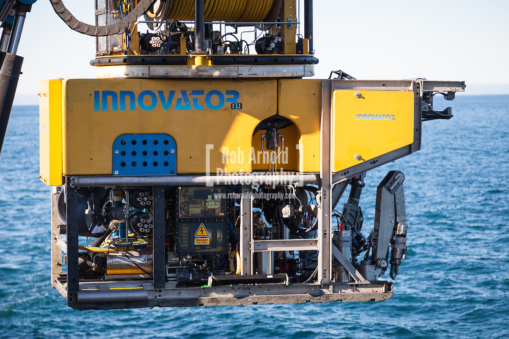 A Saipem Sonsub Innovator Work-Class ROVs being deployed from the Toisa Wave on the South Stream gas pipeline project in the Black Sea.