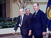 French President Jacques Chirac (R) meets with International Monetary Fund by Managing Director Michel Camdessus (L) and World Bank President James Wolfensohn at the IMF February 18, 1999 in Washington, DC. Chirac is scheduled for talks with President Clinton that will focus on security issues in Europe and reform of the global financial system.