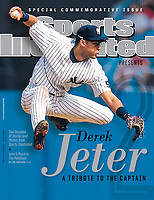 September 18, 2014 Sports Illustrated Presents Cover: <br /> Baseball: New York Yankees Derek Jeter (2) in action, making throw for force out vs Detroit Tigers during 8th inning at Yankee Stadium. Commemorative. <br /> Bronx, NY 6/30/1999<br /> CREDIT: Tom DiPace (Photo by Tom DiPace /Sports Illustrated