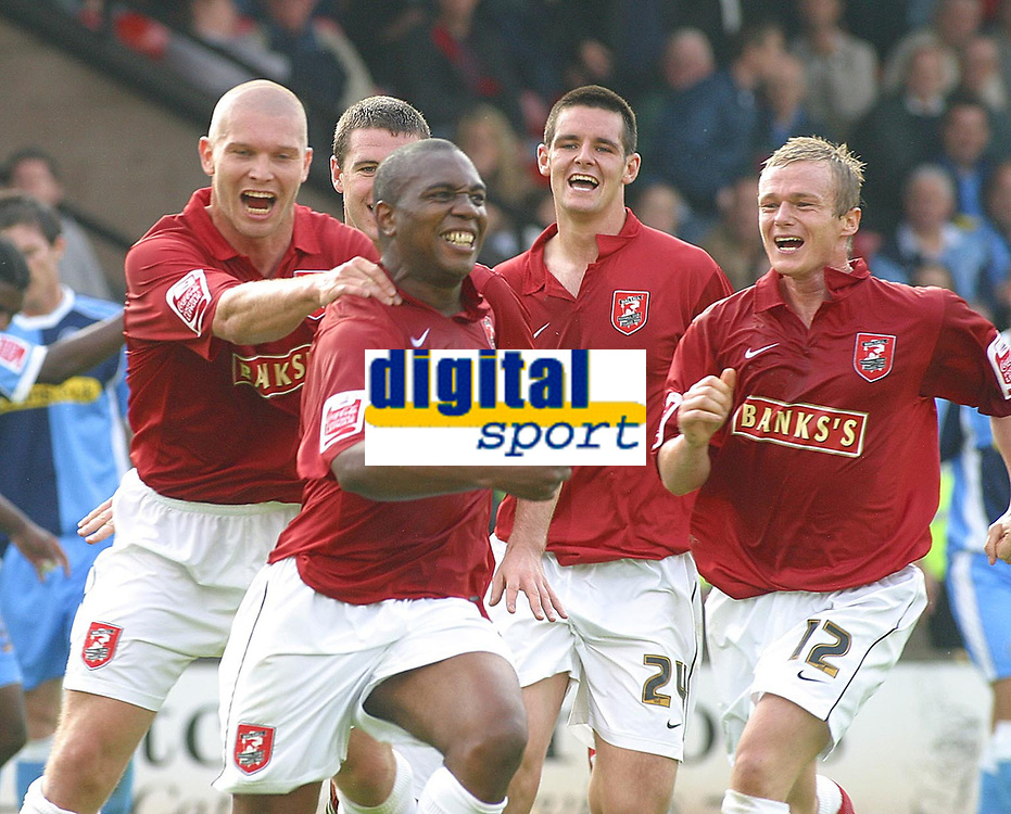 Photo: Dave Linney.<br />Walsall v Wycombe Wanderers. Coca Cola League 2. 14/10/2006Walsall's .Hector Sam(Second from left) celebrates with his team mates after making it 1-0.