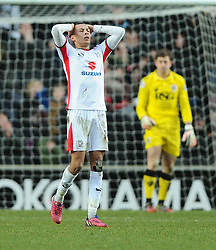 Milton Keynes Dons' Dele Alli reacts to his shot going over  - Photo mandatory by-line: Joe Meredith/JMP - Mobile: 07966 386802 - 07/02/2015 - SPORT - Football - Milton Keynes - Stadium MK - MK Dons v Bristol City - Sky Bet League One
