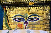 Swayambhunath (Buddhist stupa) on hill above Kathmandu, Nepal