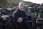 The tattooed hermit, Tom Leppard (1935-2016) at his secret island hideaway on the Isle of Skye, Scotland in 2007. <br />