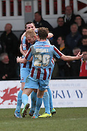 David Syers of Scunthorpe (centre) celebrates his side's second goal. Skybet football league 2 match, Newport county v Scunthorpe Utd at Rodney Parade in Newport, South Wales on Saturday 1st March 2014.<br /> pic by Mark Hawkins, Andrew Orchard sports photography.