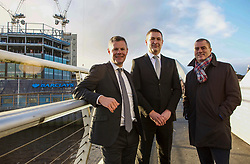 Finance Secretary Derek Mackay, left, Scott Stewart, Head of Barclays Scotland, and Scottish Enterprise Chief Executive Steve Dunlop visited the Barclays Bank construction site at Tradeston, Glasgow. Pic: Terry Murden @edinburghelitemedia