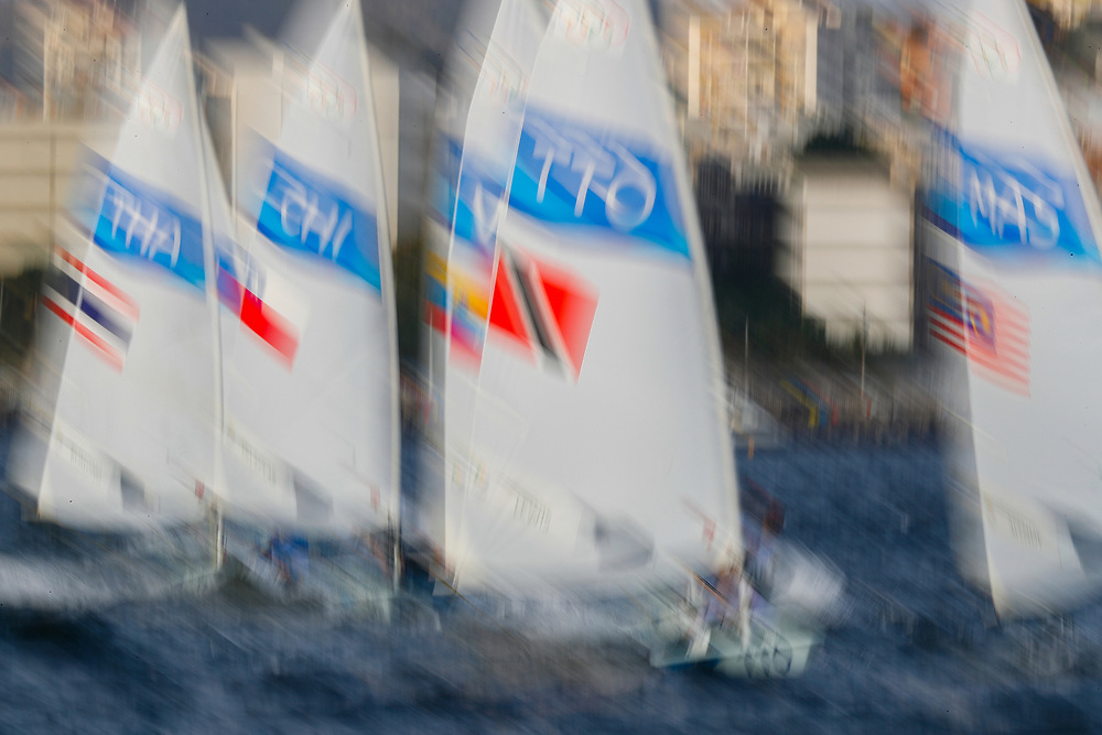 Picture taken with a long exposure effect shows sailors racing in the Laser Mens class race in the Rio 2016 Olympic Games Sailing events in Guanabara Bay, Rio de Janeiro, Brazil, 08 August 2016.