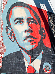 Obama Mural by Shepard Fairey  next to restaurant Marvin restaurant at 14th & U Streets, Washington D.C., USA.