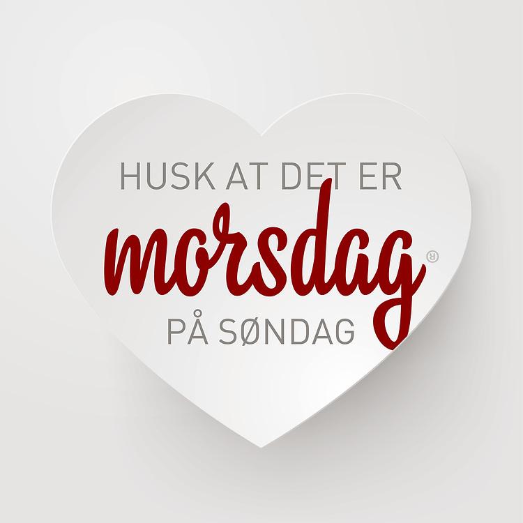 Grafikk med norsk tekst «Husk at det er morsdag på søndag» i et subtilt hjerte. Bildet er spesielt egnet for butikker som ønsker å gi kundene en påminnelse opp mot morsdagen. Utmerket til bruk i både til print og i sosiale medier som Facebook og Instagram.