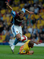 Photo: Richard Lane.<br />Watford v Aston Villa. The Barclays Premiership. 16/09/2006. <br />Villa's Stilian Petrov breaks past Watford's Hameur Bouazza.