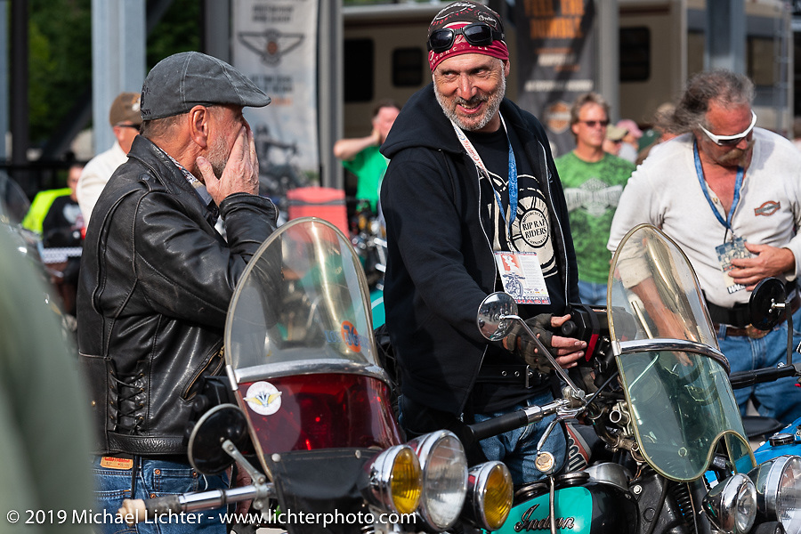 Jason Wadzinski and the Dayton bunch on the Cross Country Chase motorcycle endurance run from Sault Sainte Marie, MI to Key West, FL (for vintage bikes from 1930-1948). Stage 2 from Ludington, MI to Milwaukee, WI, USA. Saturday, September 7, 2019. Photography ©2019 Michael Lichter.