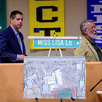A proposal for a road named in honor of Lisa Romero-Muniz is on exhibit during the Gallup McKinley County Schools board meeting at the Student Support Center in Gallup Monday.