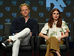 BEVERLY HILLS - AUGUST 9: Cast members Chris Geere and Aya Cash onstage during the panel for 'You're the Worst' at the FX portion of the 2017 Summer TCA press tour at the Beverly Hilton on August 9, 2017 in Beverly Hills, California. (Photo by Frank Micelotta/FX/PictureGroup) *** Please Use Credit from Credit Field ***