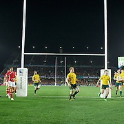 Berrick Barnes, Australia, scores a try for his side during the Australia V Wales Bronze Final match at the IRB Rugby World Cup tournament, Auckland, New Zealand. 21st October 2011. Photo Tim Clayton...