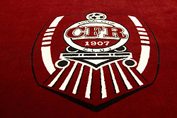 July 23, 2018 - Cluj, Romania - 180723 Logo of Cluj during a press conference and practice ahead the UEFA Champions League qualifying match between Cluj and MalmÅ¡ FF on July 23, 2018 in Cluj..Photo: Ludvig Thunman / BILDBYRN / kod LT / 35509 (Credit Image: © Ludvig Thunman/Bildbyran via ZUMA Press)
