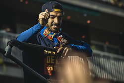 April 30, 2018 - Barcelona, Catalonia, Spain - FC Barcelona forward LUIS SUAREZ greets the fans during the FC Barcelona's open top bus victory parade after winning the LaLiga with their eighth double in the club history (Credit Image: © Matthias Oesterle via ZUMA Wire)