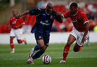 Photo: Steve Bond/Richard Lane Photography. Nottingham Forest v Sunderland. Pre Season Friendy. 29/07/2008. El-Hadji Diouf (L) fends off Kelvin Wilson (R)