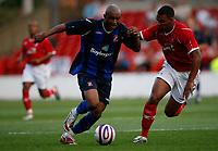 Photo: Steve Bond/Richard Lane Photography. Nottingham Forest v Sunderland. Pre Season Friendy. 29/07/2008. El-Hadji Diouf (L) fends off Kelvin Wilson (R)