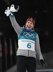 PYEONGCHANG, Feb. 15, 2018  Anastasiya Kuzmina from Slovakia celebrates during the venue ceremony of women's 15km individual of biathlon at the 2018 PyeongChang Winter Olympic Games at Alpensia Biathlon Centre, PyeongChang, South Korea, Feb. 15, 2018. Anastasiya Kuzmina claimed second place in a time of 41:31. 9. (Credit Image: © Wang Song/Xinhua via ZUMA Wire)