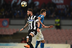 April 18, 2018 - Naples, Naples, Italy - Francesco Zampano of Udinese Calcio and Arkadiusz Milik of SSC Napoli during the Serie A TIM match between SSC Napoli and Udinese Calcio at Stadio San Paolo Naples Italy on 18 April 2018. (Credit Image: © Franco Romano/NurPhoto via ZUMA Press)