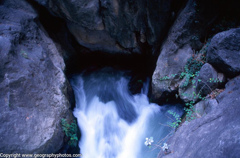 Water resurgence stream from limestone rocks, Saklikent gorge, Turkey
