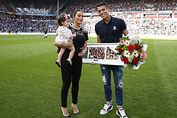 Hector Moreno with his wife Irene Martinez and daughter Mia during the Dutch Eredivisie match between PSV Eindhoven and Roda JC Kerkrade at the Phillips stadium on August 27, 2017 in Eindhoven, The Netherlands