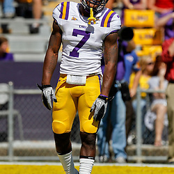 Oct 2, 2010; Baton Rouge, LA, USA; LSU Tigers cornerback Patrick Peterson (7) on the field prior to kickoff of a game between the LSU Tigers and the Tennessee Volunteers at Tiger Stadium.  Mandatory Credit: Derick E. Hingle
