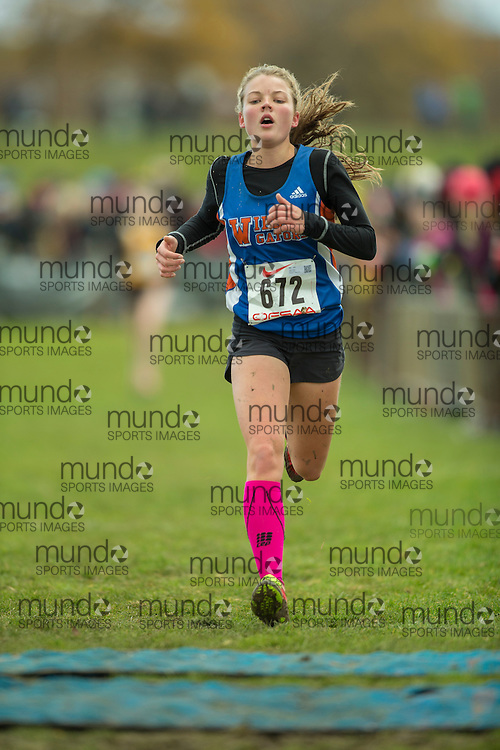Hiley Dobbs of Donald A. Wilson SS competes at the OFSAA Cross Country Championships in Waterloo Ontario, Saturday, November 1, 2014.<br /> Mundo Sport Images/ Geoff Robins