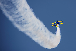 An aircraft performs aerobatics during the inauguration of the Aero India 2015 in Air Force Station Yelahanka of Bangalore, India, Feb. 18, 2015. The biennial air show this year attracted dealers from 49 countries, showcasing their aero-related products in military and civilian fields. EXPA Pictures © 2015, PhotoCredit: EXPA/ Photoshot/ Zheng Huansong<br /> <br /> *****ATTENTION - for AUT, SLO, CRO, SRB, BIH, MAZ only*****