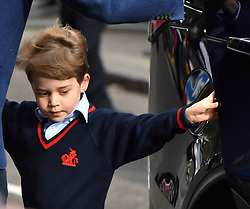 Prince George arrives to meet his newborn brother at the Lindo Wing at St Mary's Hospital in Paddington, London.