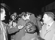 Image of Fianna Fáil leader Charles Haughey touring West Cork during his 1982 election campaign...04/02/1982.02/04/82.4th February 1982..Young Irelanders: ..Fianna Fáil  leader on the campaign trail as he pursues the endorsement of the West Cork electorate. Young people not yet the age to vote turn out to greet him. In this image he gets up close to a supporter..