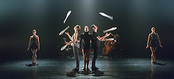 © Licensed to London News Pictures. 13/01/2015. London, England. L-R: Erin O'Toole, Kati Ylä-Hokkala,   Kieran Stonley, Owen Reynolds and Kate Byrne. Dress rehearsal of Gandini Juggling's new show 4 x 4 Ephemeral Architectures. Four classical dancers, choreographed by former Royal Ballet First Artist Ludovic Ondiviela, join four of Gandini's jugglers. World premiere at Linbury Studio Theatre, Royal Opera House, 13 to 15 January 2015. The show is part of the London International Mime Festival and is followed by a UK tour. Dancers: Kieran Stoneley, Kate Byrne, Erion O'Toole and Joe Bishop, jugglers: Kim Huynh, Sakari Männistö, Owen Reynolds and Kati Ylä-Hokkala. Photo credit: Bettina Strenske/LNP