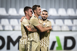 Luka Bobičanec of Mura, Kevin Žižek of Mura and Nino Kouter of Mura during football match between NS Mura and AGF Aarhus in Second Round of UEFA Europa League Qualifications, on September 17, 2020 in Stadium Fazanerija, Murska Sobota, Slovenia. Photo by Blaz Weindorfer / Sportida