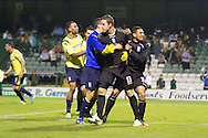 Birmingham keeper Colin Doyle celebrates with teammates after the penalty shootout victory of Birmingham City over Yeovil Town during the Capital One Cup match, 2nd round, Yeovil Town v Birmingham City at Huish Park in Yeovil on Tuesday 27th August 2013. pic by Sophie Elbourn, Andrew Orchard sports photography,