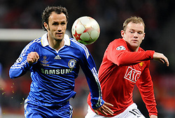 File photo dated 21-05-2008 of Chelsea's Ricardo Carvalho and Manchester United's Wayne Rooney during the UEFA Champions League Final at the Luzhniki Stadium, Moscow, Russia.