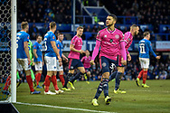 Queens Park Rangers Forward, Nahki Wells (32) celebrates after scoring a goal to make it 1-1 during the The FA Cup fourth round match between Portsmouth and Queens Park Rangers at Fratton Park, Portsmouth, England on 26 January 2019.